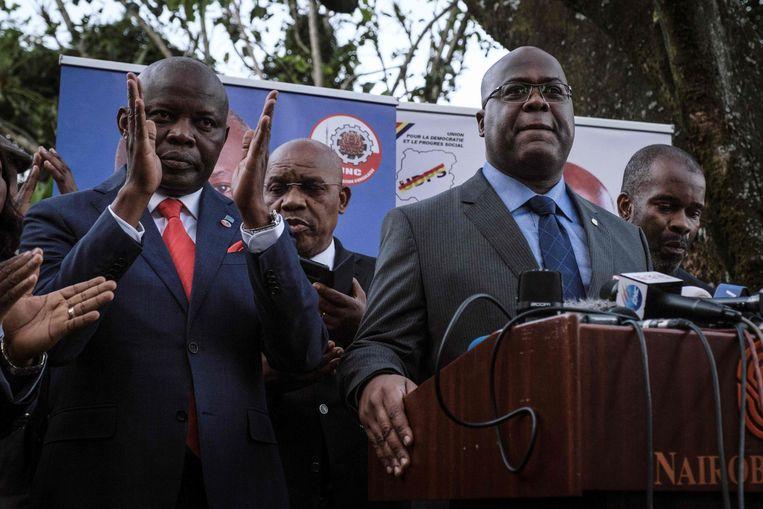 Waarnemers menen dat huidig president Félix Tshisekedi (centraal) vastzit in het keurslijf van zijn voorganger Joseph Kabila.