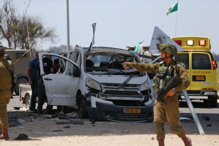 Het Israëlische slachtoffer kwam om toen een raket insloeg in zijn auto. Beeld AP