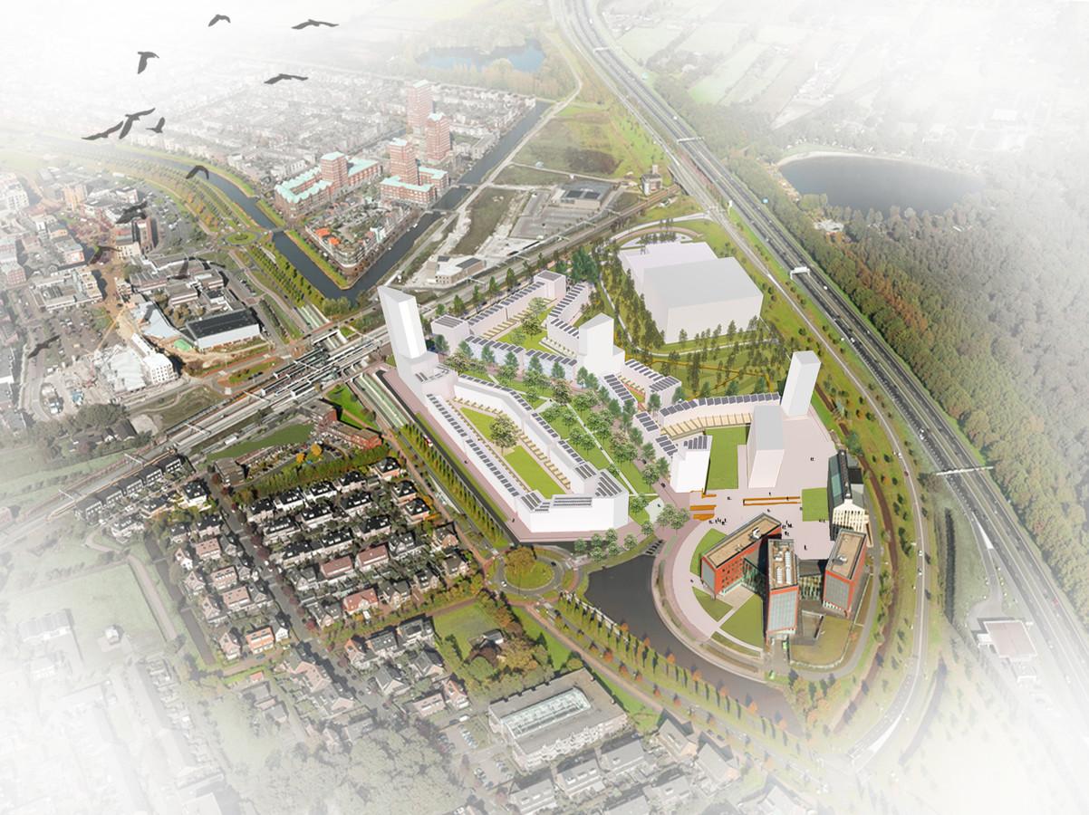 Artist's impression van de nieuwe woonwijk op de locatie Podium. Rechtsonder het hoofdkantoor van Stater.