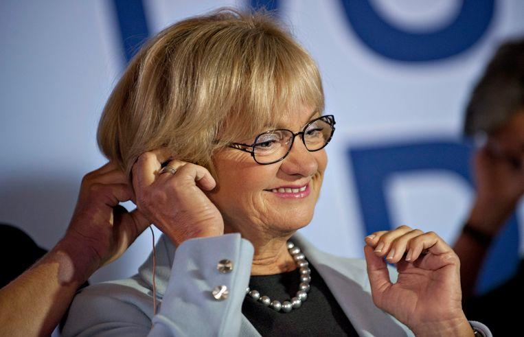 Pia Kjaersgaard, leidster van de Deense Volkspartij. Beeld epa