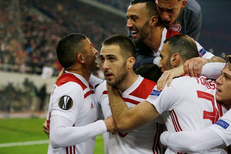 Vreugde bij Olympiakos na de kwalificatie.