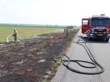 Bermbrand na klapband op A6 bij Rutten