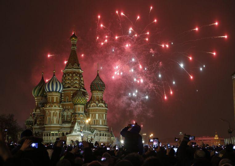 Nieuwjaarsviering in Moskou op het Rode Plein.