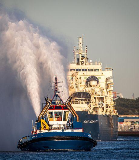 Grootste bunkerschip voor gas komt aan in hartje Rotterdam