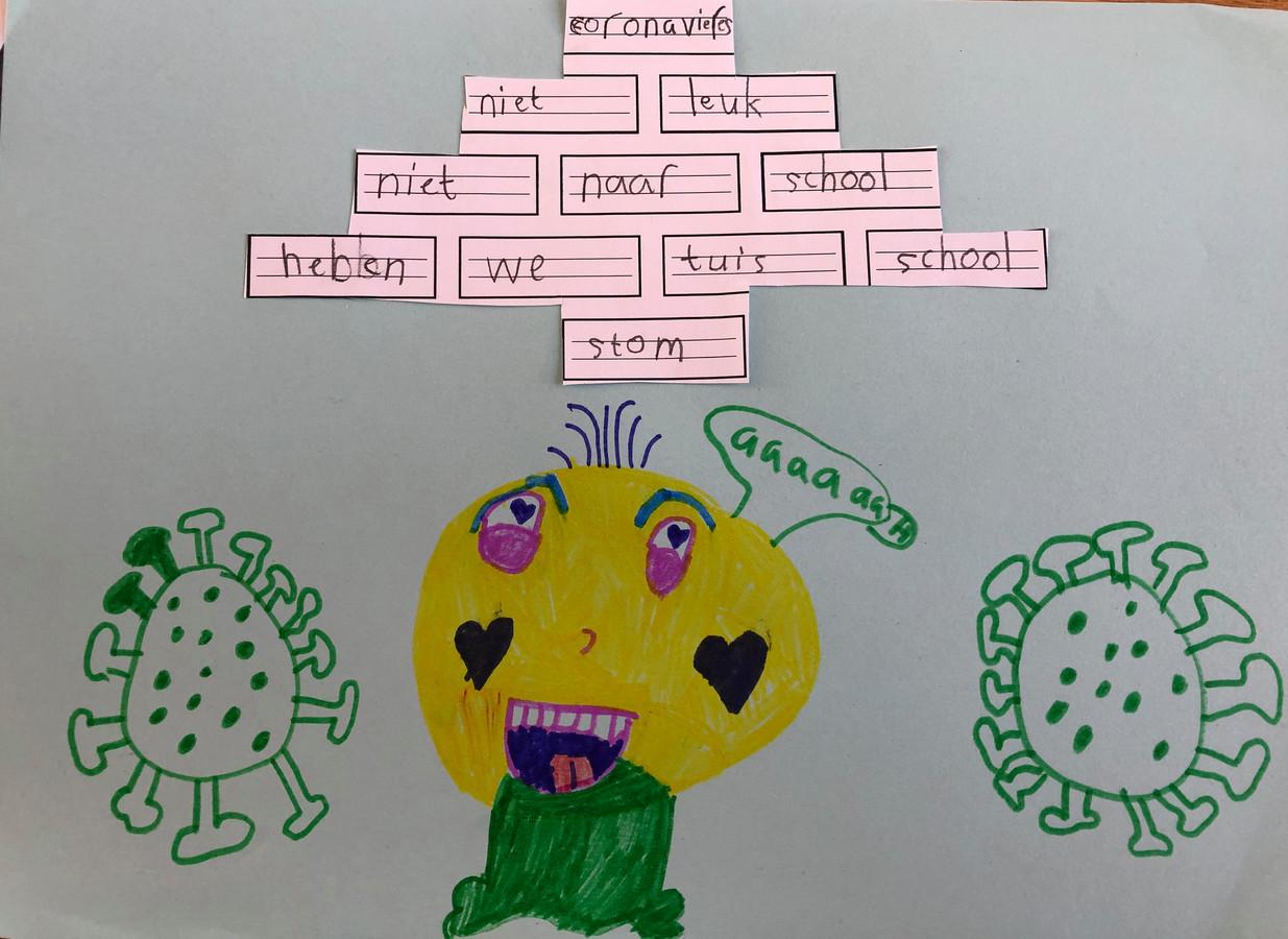'Was een opdracht van school om een 'elfje' te maken!Ze heeft er zelf een tekening bij gemaakt'