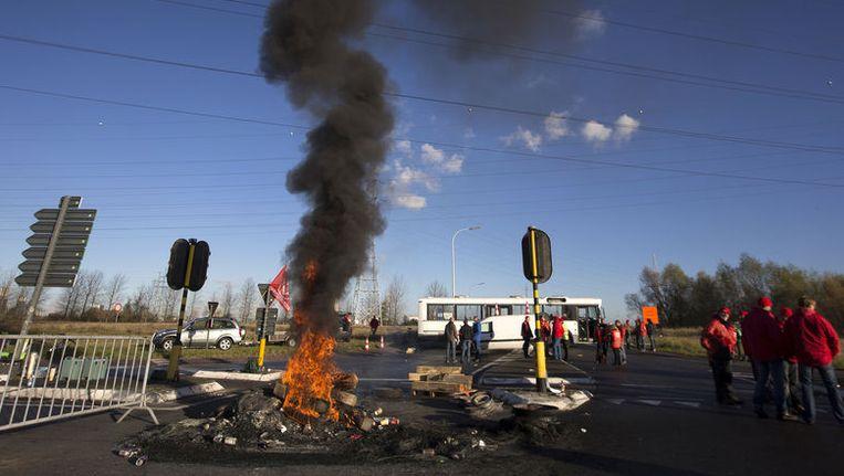 Actievoerders tijdens de provinciale stakingsdag in Limburg vorige maand. (Archieffoto)