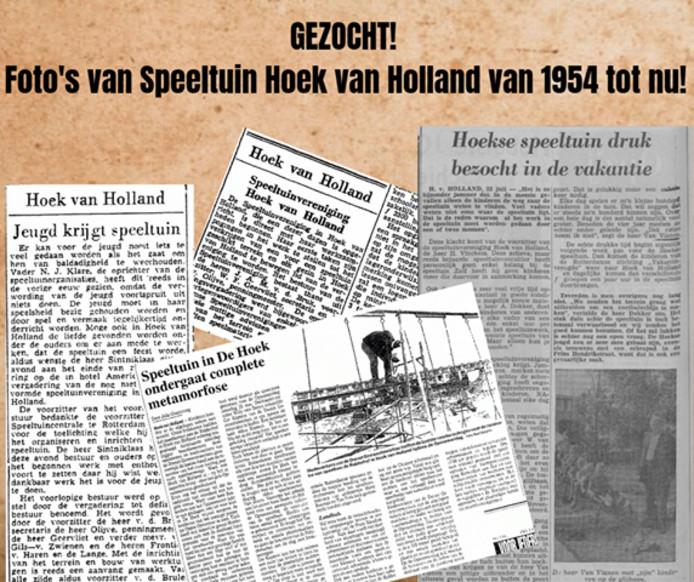 De oproep van Speeltuin Hoek van Holland.
