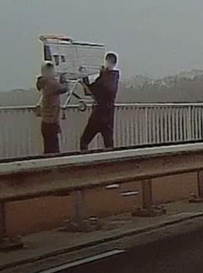 Twee jongens dreigen een winkelwagentje op het spoor te gooien in Tilburg Reeshof