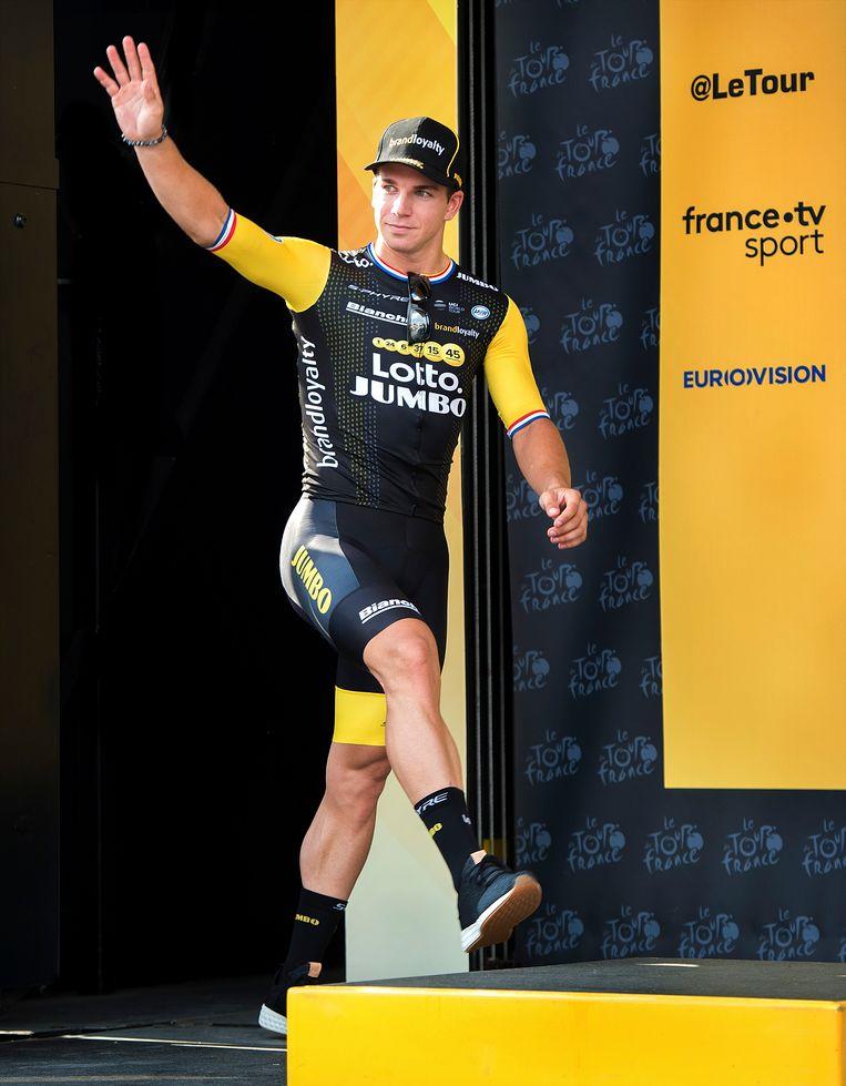 Sprinter Groenewegen heeft zijn eerste touretappe gewonnen. Beeld Klaas Jan van der Weij