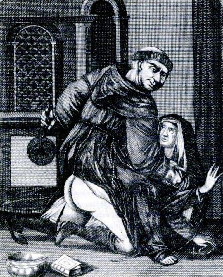 'De roomse biecht', antikatholieke gravure uit de achttiende eeuw. Beeld
