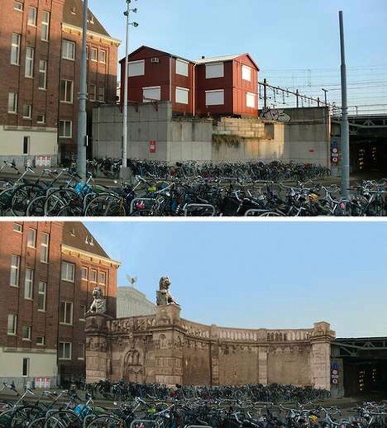 De Oostertoegang nu en zoals het Genootschap Leeuwen van het Centraal Station hem graag zou zien Beeld Henk Dijkman