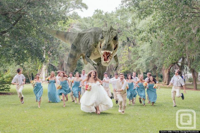 Jeff Goldblum imiteerde deze huwelijksfoto die vorig jaar viraal ging.