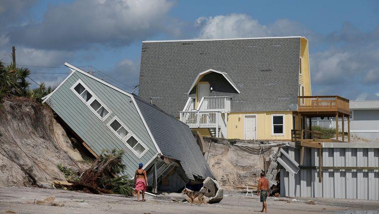 Beschadigde huizen na de passage van Irma in Vilano Beach, Florida.