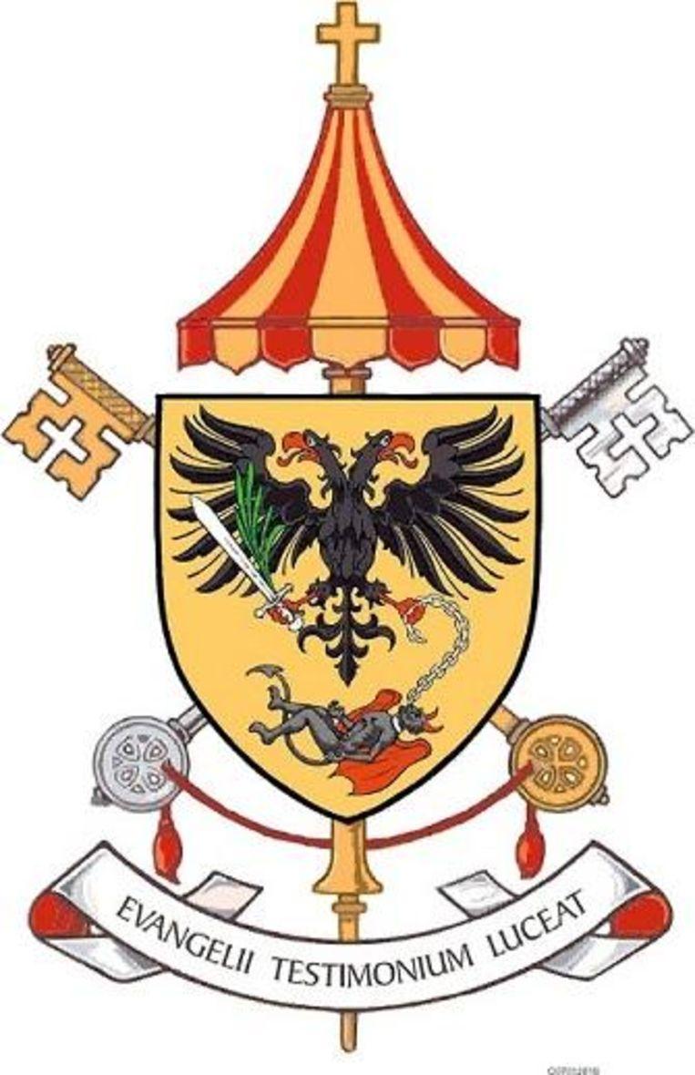 Het nieuwe wapenschild van de basiliek.