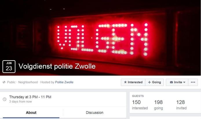 De politie van Zwolle heeft op Facebook een speciaal evenement aangemaakt voor het volgen van de volgdienst