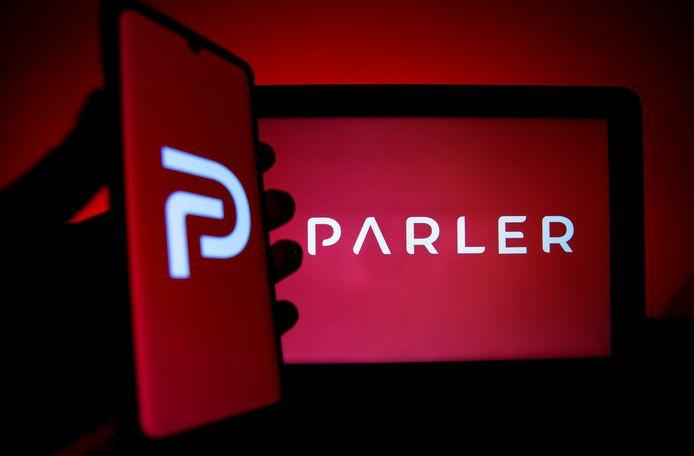 Het logo van de app Parler.