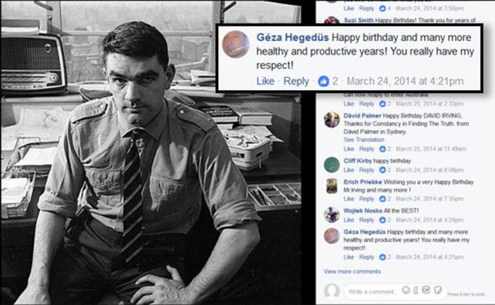 Géza Hegedüs feliciteert David Irving op Facebook met zijn verjaardag in 2014.
