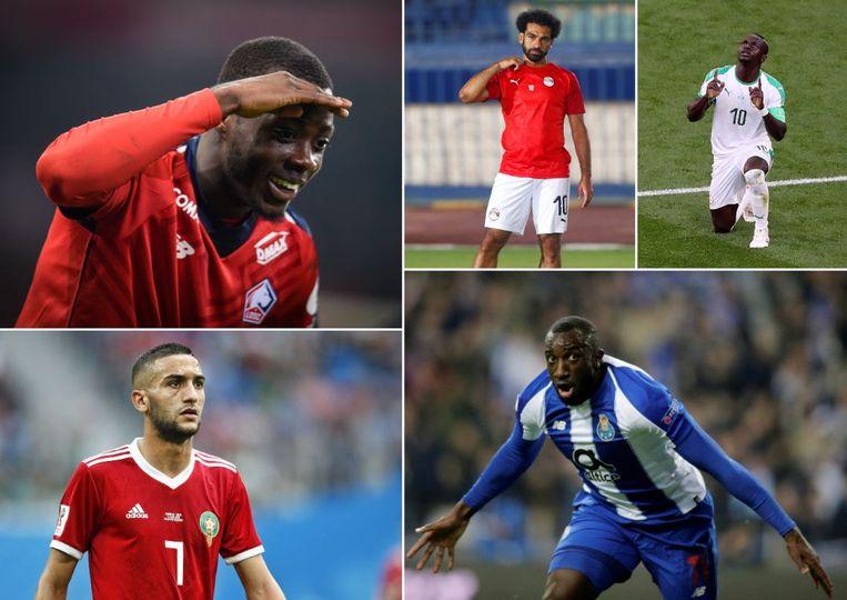 Pépé, Ziyech, Salah, Mané en Marega.