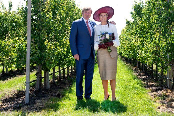 Koning Willem-Alexander en koningin Maxima in de boomgaard van Koninklijke FruitMasters tijdens het streekbezoek aan de Betuwe.