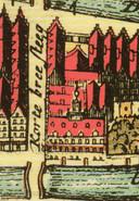 Brestraat 1 Oude kaart waarop je nog goed het torentje van het gebouw ziet / Oude Delft