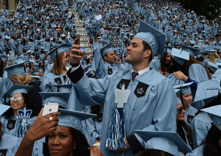 Diploma-uitreiking aan de Columbia University in New York. Beeld AFP