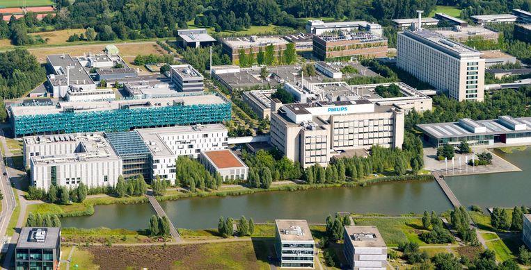 Luchtfoto van de campus van Philips in Eindhoven. Beeld anp