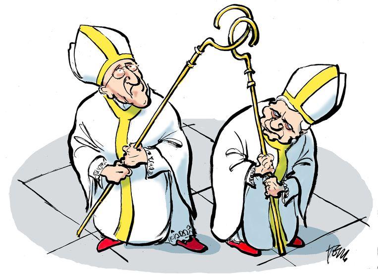 Paus Franciscus en Benedictus Beeld Tom Janssen