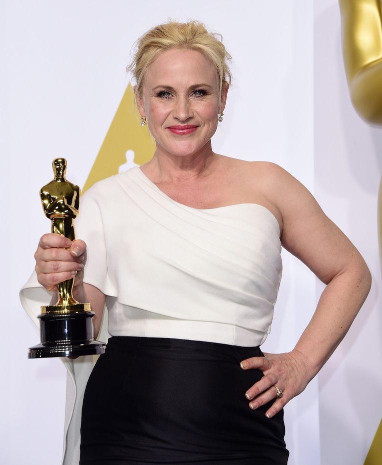 Patricia Arquette met haar Oscar voor haar rol in Boyhood. Beeld null