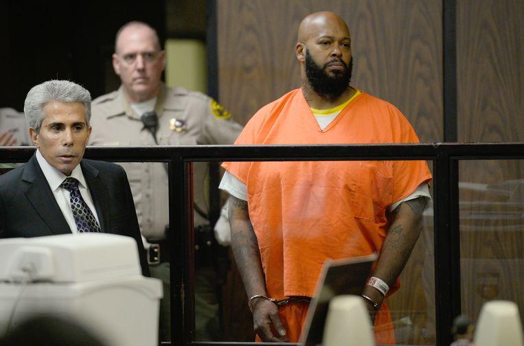 Voormalig platenbaas Marion 'Suge' Knight in de rechtszaal in Los Angeles.