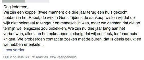 De post van het homokoppel wordt veel gedeeld op Facebook.