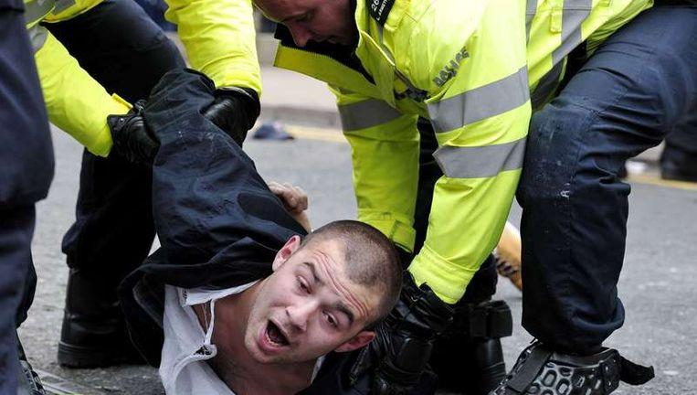 Demonstraties van de English Defence League liepen eerder deze maand in Engeland uit de hand. Beeld afp