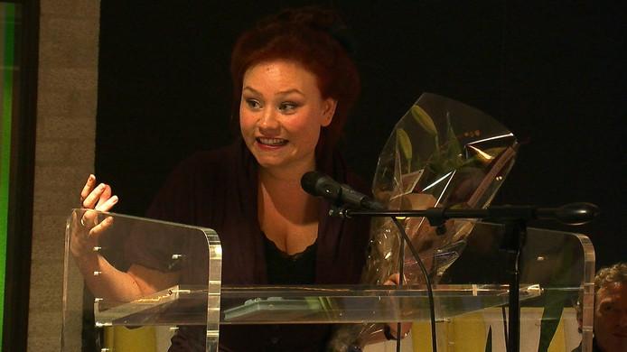 Maan Leo in de Zeeuwse Bibliotheek bij de prijsuitreiking van de Zeeuwse Boekenprijs 2012.