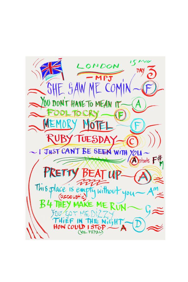 De set list van een optreden in Londen, 15 mei 2014, gemaakt door Ron Wood Beeld
