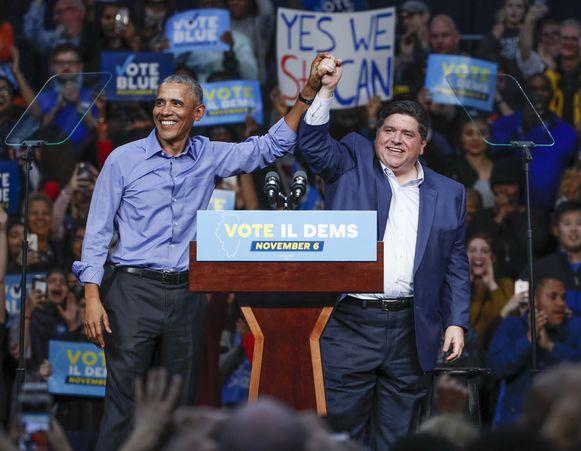 Tijdens zijn campagne  begin deze maand kreeg Pritzker steun van ex-president Barack Obama.
