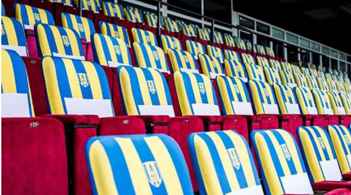 De stoelen van de business class van RKC.
