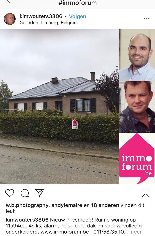 Een post van de partner van de schepen van Ruimtelijke ordening Jelle Engelbosch. Hij maakt reclame via zijn immokantoor voor een huis in Gelinden.