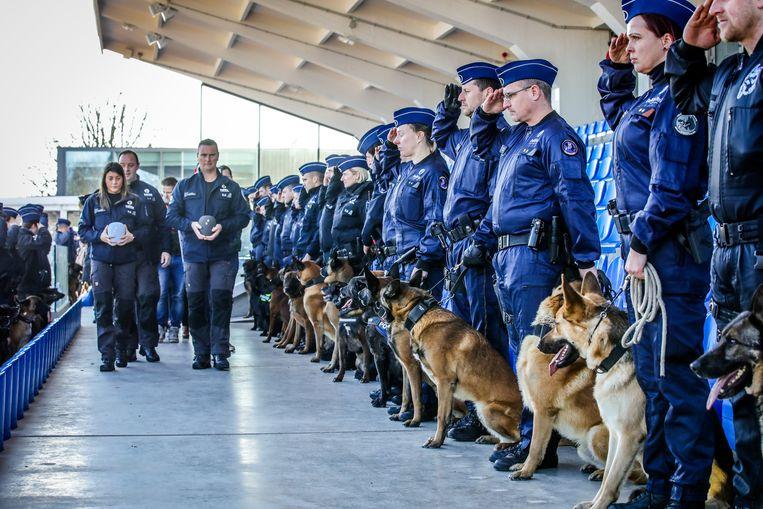 Meer dan 100 politiehonden en hun baasjes brachten in Knokke een eresaluut aan Drago en Blue.