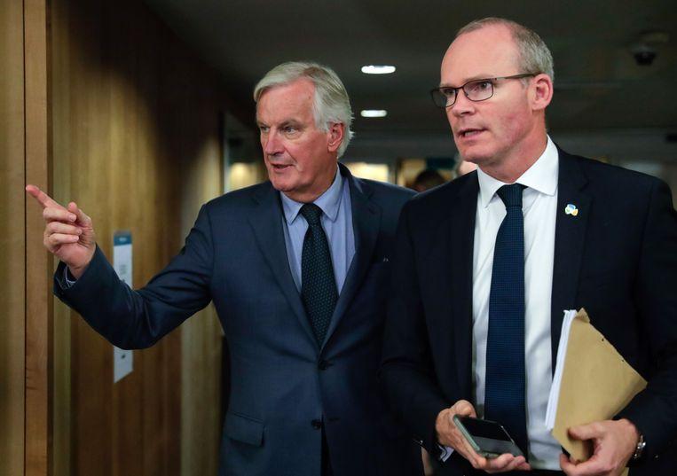 Europees hoofdonderhandelaar Michel Barnier (l.) samen met de Ierse minister van Buitenlandse Zaken Simon Coveney.