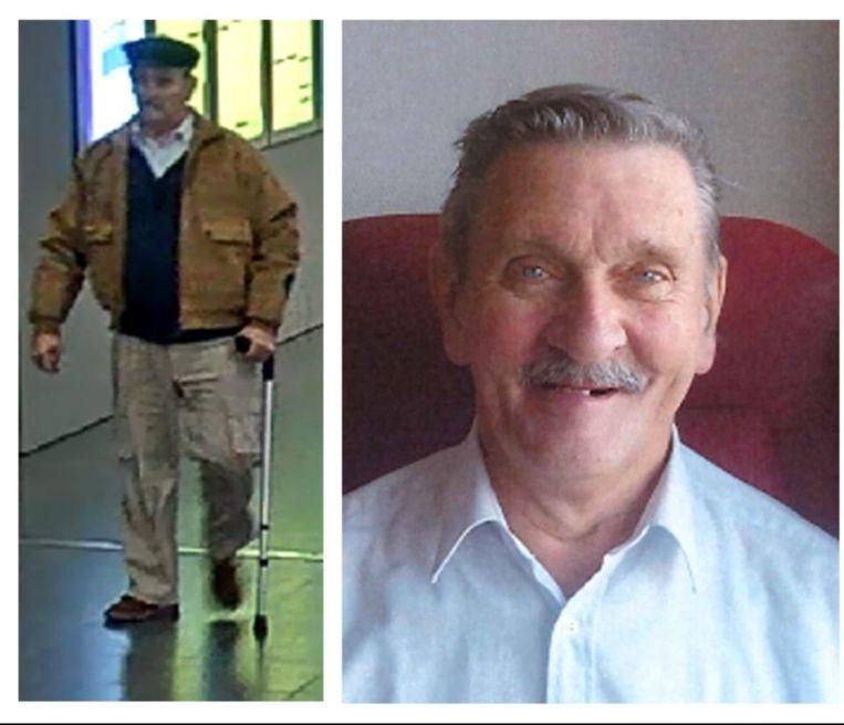 De vermiste Frederik Maes (73), links in het Centraal Station in Antwerpen