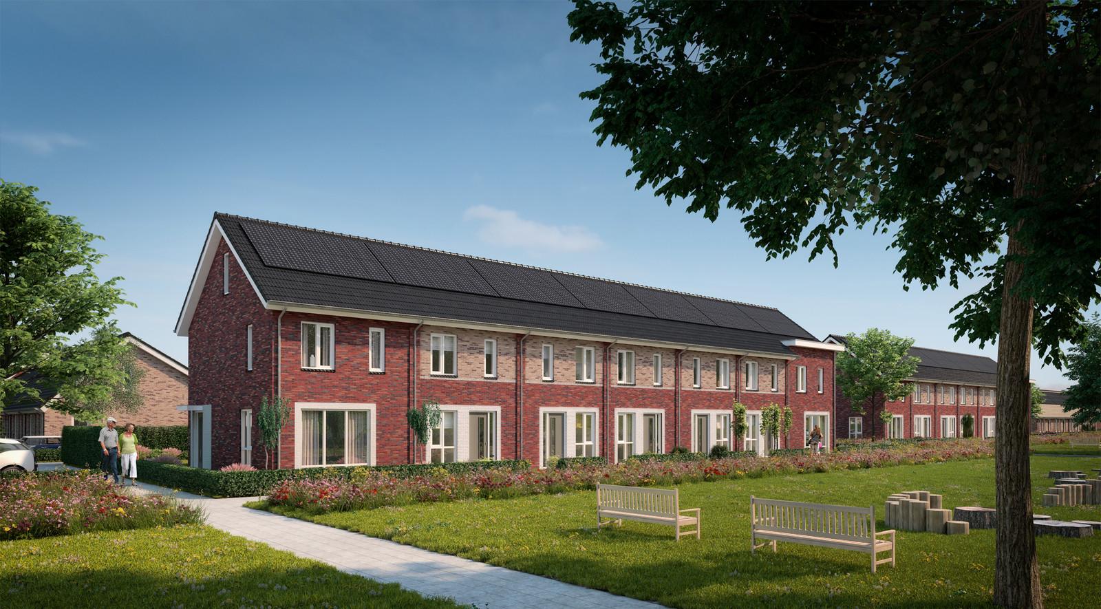 De eengezinswoningen die in de Bloemenbuurt in Doesburg worden gebouwd.