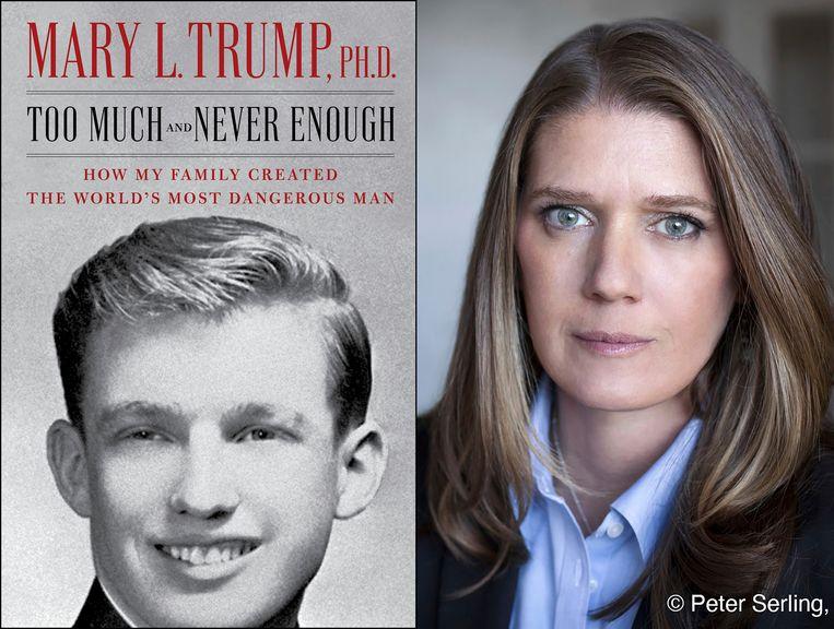 De cover van het gecontesteerde boek, met rechts auteur en nicht van de president Mary Trump.