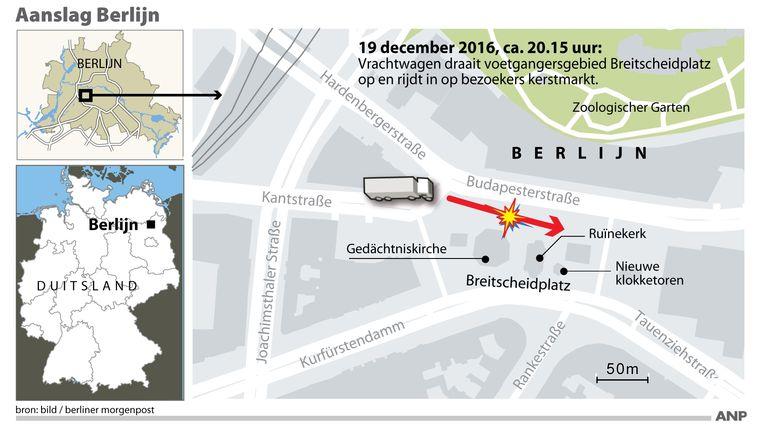 De bestuurder van de vrachtwagen is in de buurt van de Breitscheidplatz aangehouden. Beeld anp