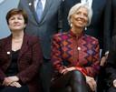 Beoogd directeur voor het IMF Kristalina Georgieva hier op een foto met de vorige IMF-topvrouw Christine Lagarde.