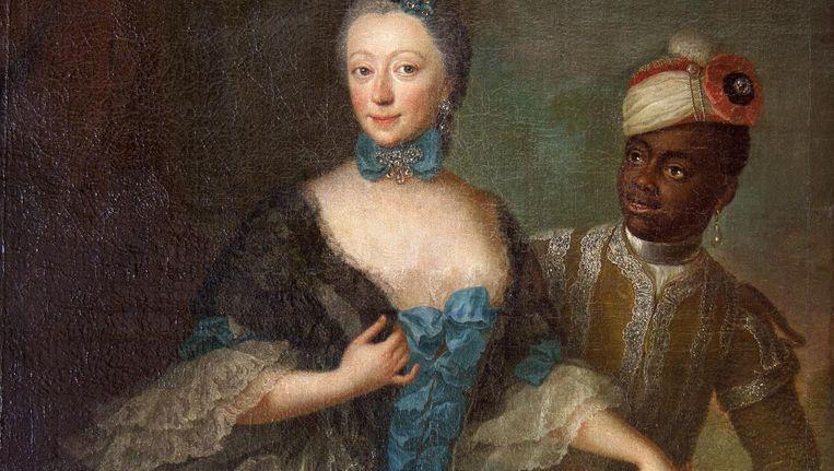 Amone Sophia Frederike gravin van Limpurg-Sontheim - echtgenote van de Weesper notabele Bertrand Philips graaf van Gronsveld-Diepenbroick-Impel - met bediende geportretteerd rond 1740 Beeld Sanne Zurne