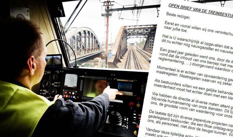 """""""Onze welgemeende excuses"""", aldus de treinbestuurders in een open brief."""