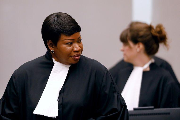 Hoofdaanklager Fatou Bensouda tijdens het proces tegen de Congolese krijgsheer Bosco Ntaganda. Beeld Reuters