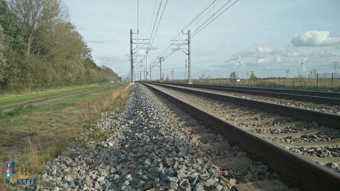 Het spoor van het rangeerterrein Lelystad richting Dronten.