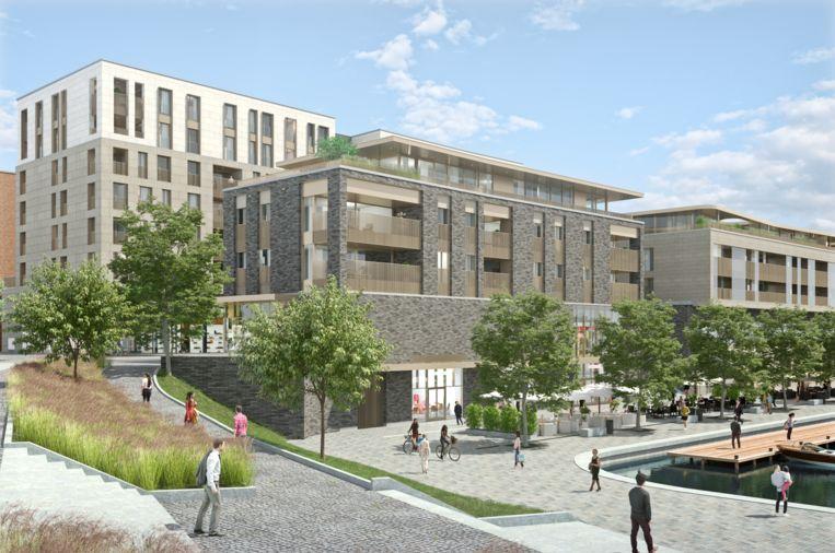Simulatie van de kade van Quartier Bleu.