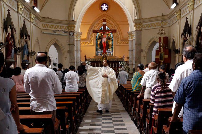 Een zondagmis in de Sri Lankaanse hoofdstad Colombo Beeld EPA