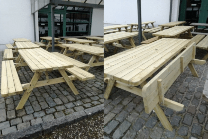 Picknicken in de educatieve tuin wordt nu nog gezelliger met 15 nieuwe picknicktafels